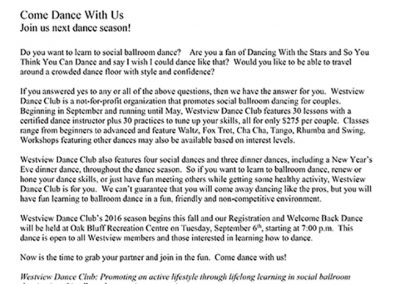 Westview Dance Club 2016 media release mini