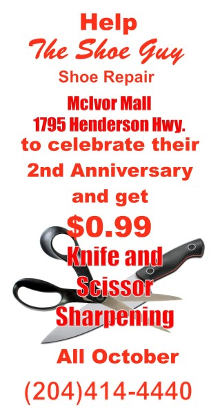 The Shoe Guy is Celebrating its 2nd Anniversary with $0.99 knife and scissor sharpening