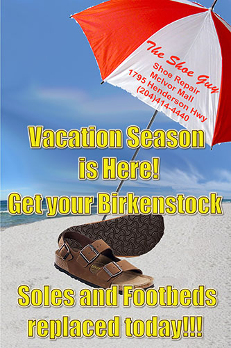 Get your Birkenstock  Soles and Footbeds replaced today!!!
