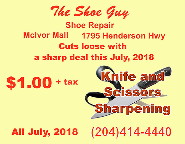 All knife and scissors sharpening only $1.00 + tax all July 2018