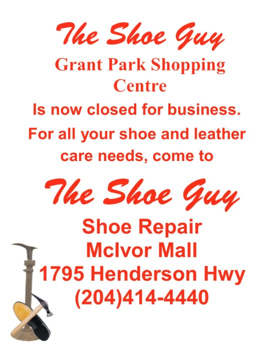 The Shoe Guy Grant Park Shopping Centre is now closed for business.