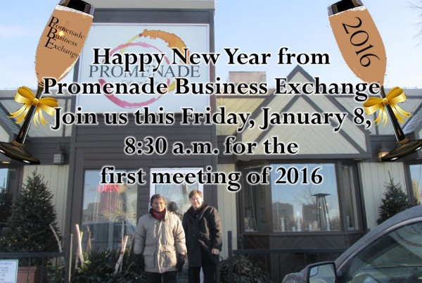 Join us this Friday, January 8, 8:30 am at Promenade Cafe and Wine