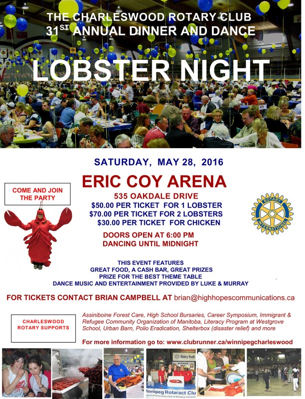 THE CHARLESWOOD ROTARY CLUB  31ST ANNUAL DINNER AND DANCE LOBSTER NIGHT