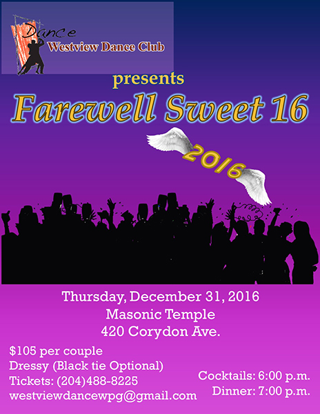 Westview Dance Club presents Farewell Sweet 16 New Year's Eve Dinner and Dance